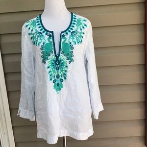 Lilly Pulitzer women's white long sleeve blouse